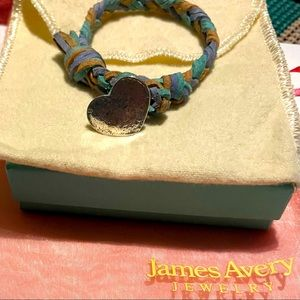 James Avery 925 Heart Clasp Leather Bracelet EUC